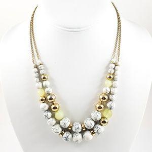 LOFT Statement Necklace 2 Strands Marbled Beads